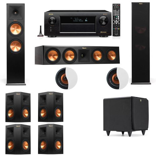 Dolby Atmos 7.1.2 Klipsch RP-280F Tower Speakers SDS12 with Denon AVR-X6300H