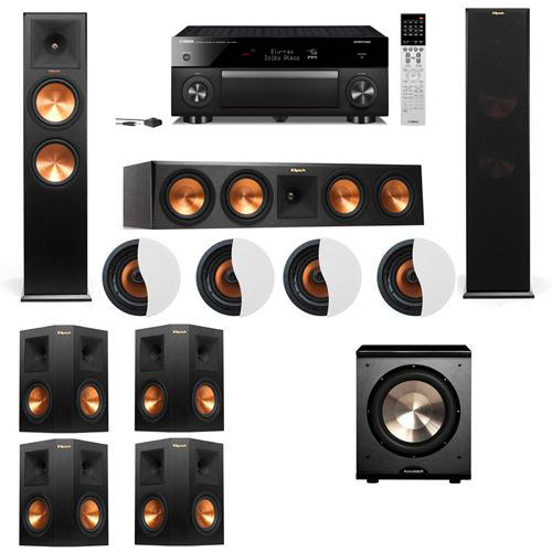 Dolby Atmos 7.1.4 Klipsch RP-280F Tower Speakers PL-200 with Yamaha RX-A1060