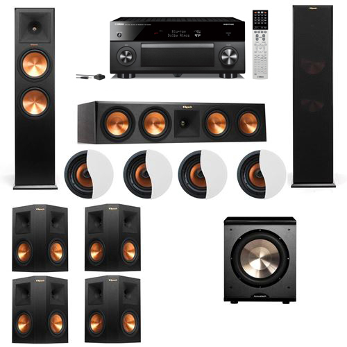 Dolby Atmos 7.1.4 Klipsch RP-280F Tower Speakers PL-200 with Yamaha RX-A2060