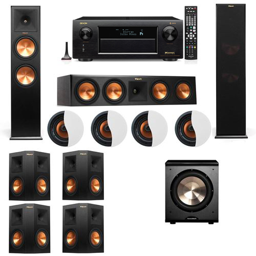 Dolby Atmos 7.1.4 Klipsch RP-280F Tower Speakers PL-200 with Denon AVR-X6300H