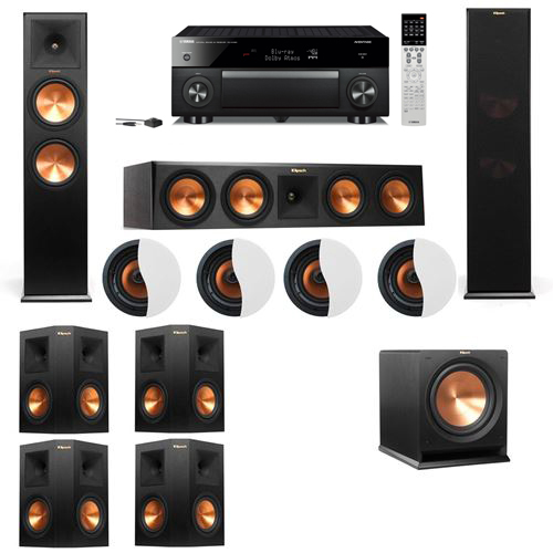 Dolby Atmos 7.1.4 Klipsch RP-280F Tower Speakers R112SW with Yamaha RX-A1060