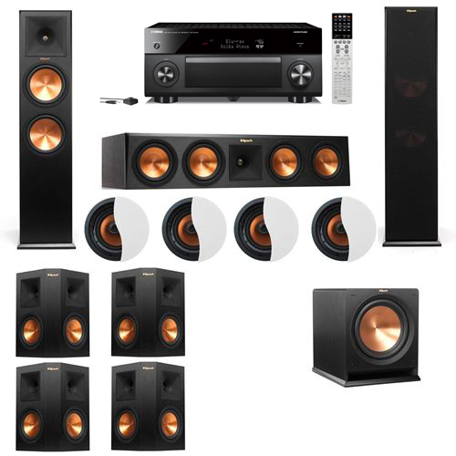 Dolby Atmos 7.1.4 Klipsch RP-280F Tower Speakers R112SW with Yamaha RX-A2060