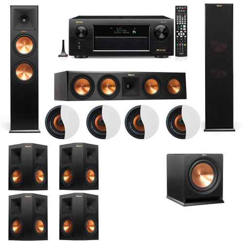 Dolby Atmos 7.1.4 Klipsch RP-280F Tower Speakers R112SW with Denon AVR-X6300H