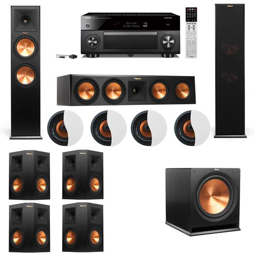 Dolby Atmos 7.1.4 Klipsch RP-280F Tower Speakers R115SW with Yamaha RX-A2060