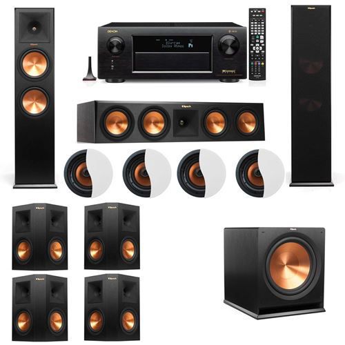 Dolby Atmos 7.1.4 Klipsch RP-280F Tower Speakers R115SW with Denon AVR-X6300H