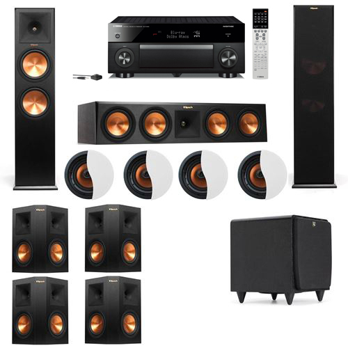 Dolby Atmos 7.1.4 Klipsch RP-280F Tower Speakers SDS12 with Yamaha RX-A1060
