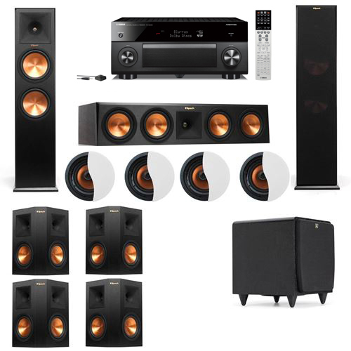 Dolby Atmos 7.1.4 Klipsch RP-280F Tower Speakers SDS12 with Yamaha RX-A2060
