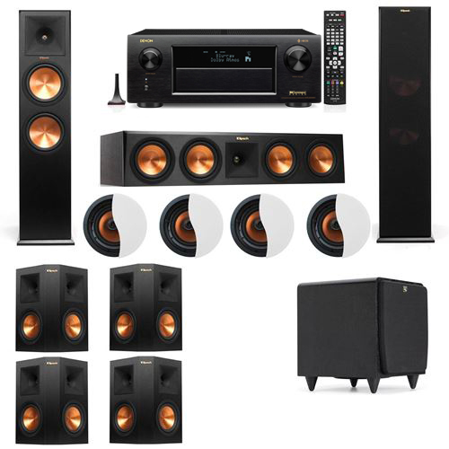Dolby Atmos 7.1.4 Klipsch RP-280F Tower Speakers SDS12 with Denon AVR-X6300H
