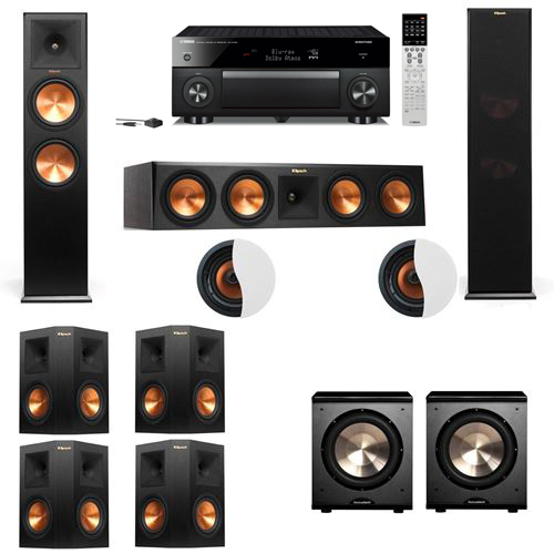 Dolby Atmos 7.2.2 Klipsch RP-280F Tower Speakers PL-200 withYamaha RX-A1060