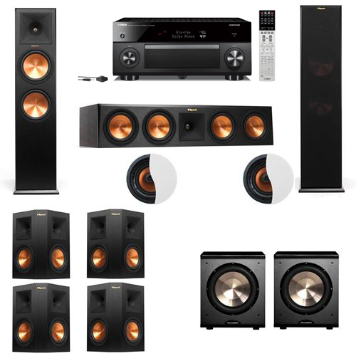 Dolby Atmos 7.2.2 Klipsch RP-280F Tower Speakers PL-200 withYamaha RX-A2060