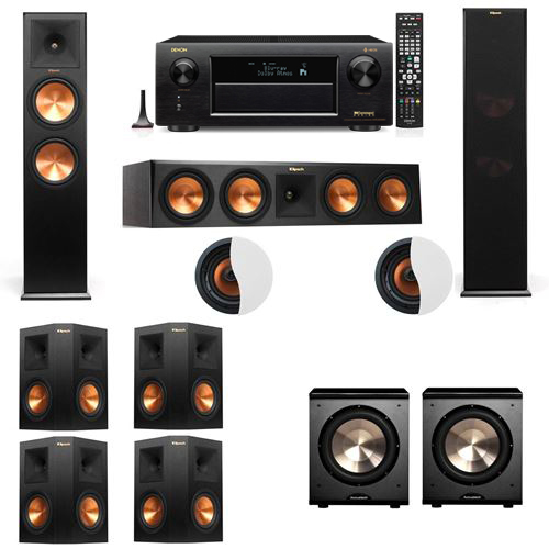 Dolby Atmos 7.2.2 Klipsch RP-280F Tower Speakers PL-200 withDenon AVR-X6300H