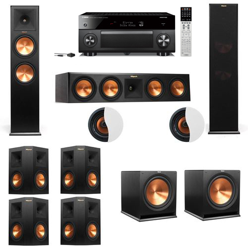 Dolby Atmos 7.2.2 Klipsch RP-280F Tower Speakers R115SW with Yamaha RX-A2060