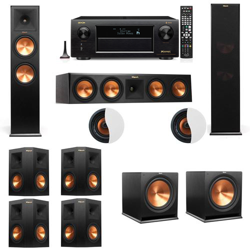Dolby Atmos 7.2.2 Klipsch RP-280F Tower Speakers R115SW with Denon AVR-X6300H
