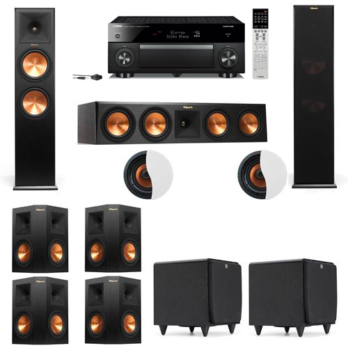 Dolby Atmos 7.2.2 Klipsch RP-280F Tower Speakers SDS12 with Yamaha RX-A1060