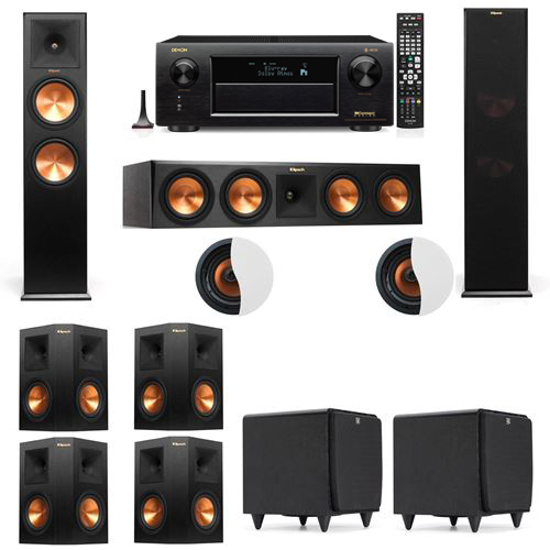 Dolby Atmos 7.2.2 Klipsch RP-280F Tower Speakers SDS12 with Denon AVR-X6300H