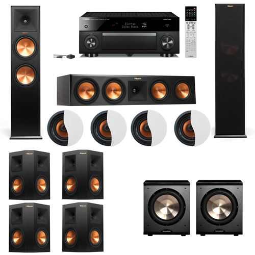 Dolby Atmos 7.2.4 Klipsch RP-280F Tower Speakers PL-200 with Yamaha RX-A1060