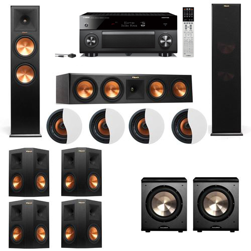 Dolby Atmos 7.2.4 Klipsch RP-280F Tower Speakers PL-200 with Yamaha RX-A2060