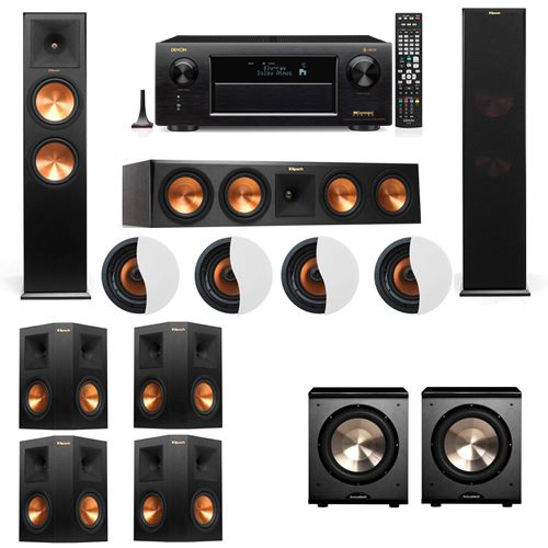 Dolby Atmos 7.2.4 Klipsch RP-280F Tower Speakers PL-200 with Denon AVR-X6300H