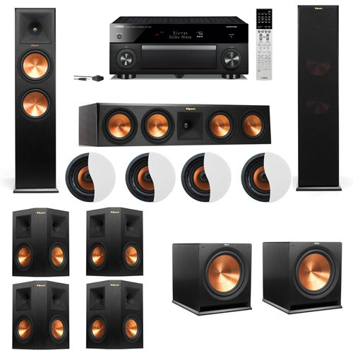 Dolby Atmos 7.2.4 Klipsch RP-280F Tower Speakers R115SW with Yamaha RX-A1060