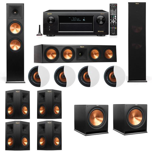 Dolby Atmos 7.2.4 Klipsch RP-280F Tower Speakers R115SW with Denon AVR-X6300H