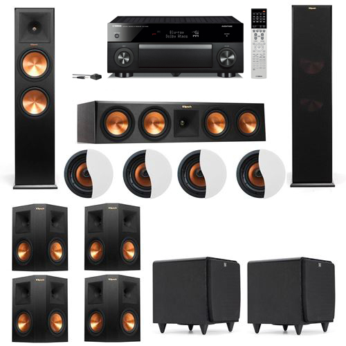 Dolby Atmos 7.2.4 Klipsch RP-280F Tower Speakers SDS12 with Yamaha RX-A1060