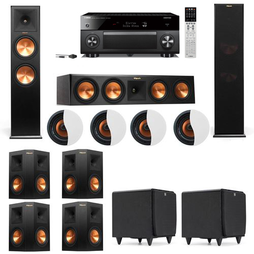 Dolby Atmos 7.2.4 Klipsch RP-280F Tower Speakers SDS12 with Yamaha RX-A2060