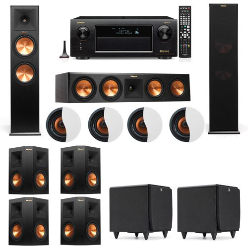 Dolby Atmos 7.2.4 Klipsch RP-280F Tower Speakers SDS12 with Denon AVR-X6300H