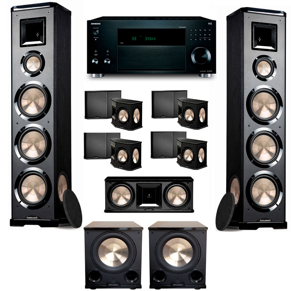 BIC Acoustech 7.2 PL-980 Home Theater System with Onkyo TX-RZ920 Receiver and PL-200II Subwoofers