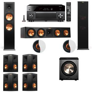 Dolby Atmos 7.1.2 Klipsch RP-280F Tower Speakers PL-200 with Yamaha RX-A3060