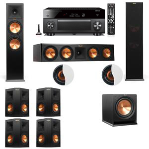 Dolby Atmos 7.1.2 Klipsch RP-280F Tower Speakers R112SW with Yamaha RX-A3060