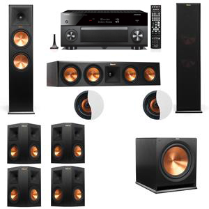 Dolby Atmos 7.1.2 Klipsch RP-280F Tower Speakers R115SW with Yamaha RX-A3060