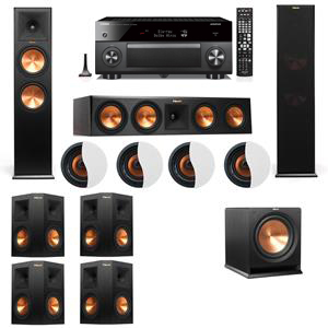 Dolby Atmos 7.1.4 Klipsch RP-280F Tower Speakers R112SW with Yamaha RX-A3060