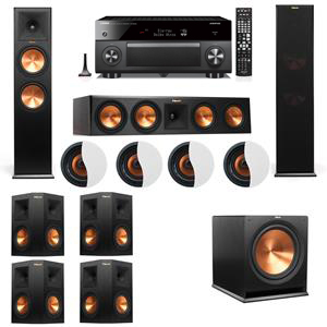 Dolby Atmos 7.1.4 Klipsch RP-280F Tower Speakers R115SW with Yamaha RX-A3060