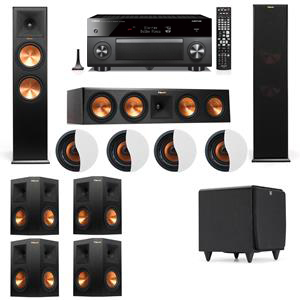 Dolby Atmos 7.1.4 Klipsch RP-280F Tower Speakers SDS12 with Yamaha RX-A3060