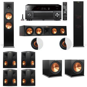 Dolby Atmos 7.2.2 Klipsch RP-280F Tower Speakers R115SW with Yamaha RX-A3060