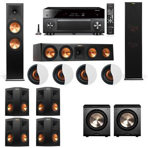 Dolby Atmos 7.2.4 Klipsch RP-280F Tower Speakers PL-200 with Yamaha RX-A3060