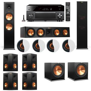 Dolby Atmos 7.2.4 Klipsch RP-280F Tower Speakers R115SW with Yamaha RX-A3060