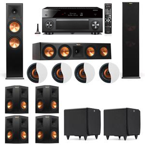 Dolby Atmos 7.2.4 Klipsch RP-280F Tower Speakers SDS12 with Yamaha RX-A3060