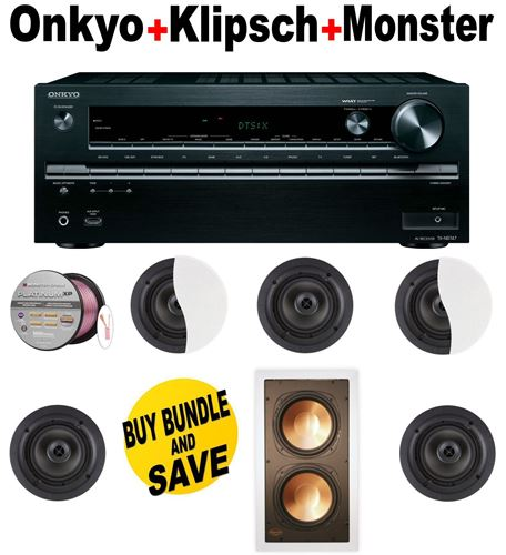 Onkyo TX-NR747 7.2-Channel Network A/V Receiver + 5 Klipsch - CDT2650CII + Klipsch - RW5802IWSUB + Monster Cable - PLATXPMS50 Bundle
