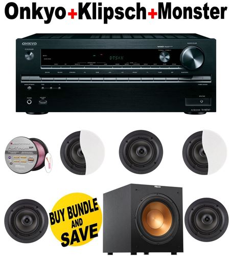 Onkyo TX-NR747 7.2-Channel Network A/V Receiver + 5 Klipsch - CDT2650CII + Klipsch - R12SW + Monster Cable - PLATXPMS50 Bundle