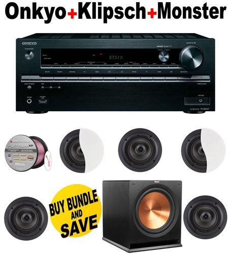 Onkyo TX-NR747 7.2-Channel Network A/V Receiver + 5 Klipsch - CDT2650CII + Klipsch - R110SW + Monster Cable - PLATXPMS50 Bundle