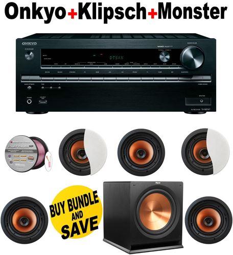 Onkyo TX-NR747 7.2-Channel Network A/V Receiver + 5 Klipsch - CDT3650CII + Klipsch - R115SW + Monster Cable - PLATXPMS50 Bundle