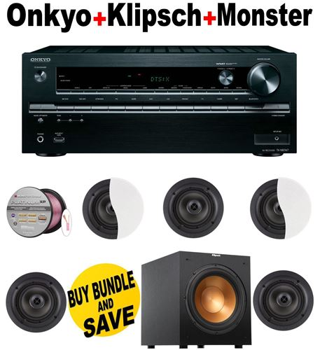 Onkyo TX-NR747 7.2-Channel Network A/V Receiver + 5 Klipsch - CDT2650CII + Klipsch - R10SW + Monster Cable - PLATXPMS50 Bundle