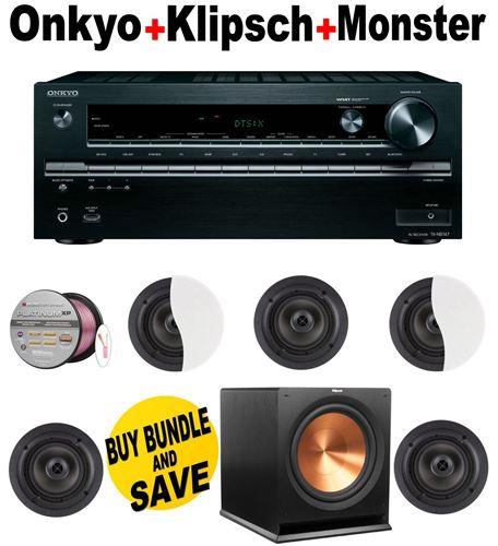 Onkyo TX-NR747 7.2-Channel Network A/V Receiver + 5 Klipsch - CDT2650CII + Klipsch - R115SW + Monster Cable - PLATXPMS50 Bundle