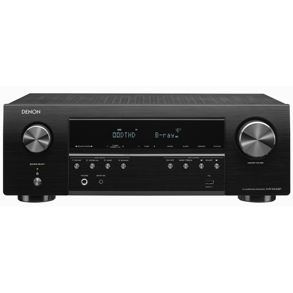 Denon AVR-S540BT Black 5.2 Channel 4K Ultra HD A/V Receiver with Bluetooth and Dolby Vision