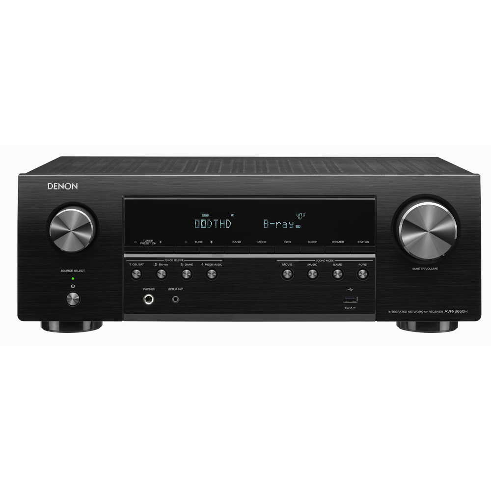 Denon AVR-S650H Black 5.2 Channel A/V Receiver with Voice Control