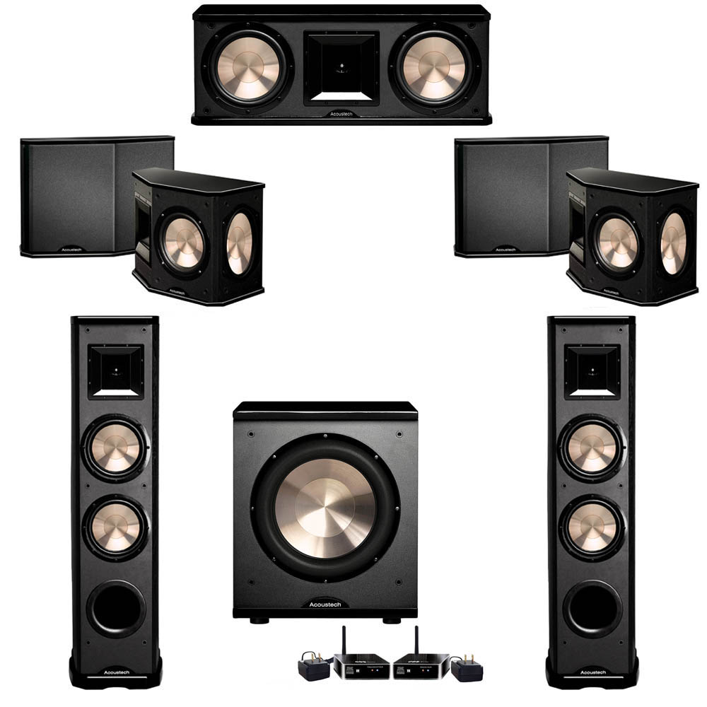 BIC Acoustech 5.1 System with 2 PL-89 II Floorstanding Speakers, 1 PL-28 II Center Speaker, 2 PL-66 Surround Speakers, 1 PL-200 Wireless Subwoofer