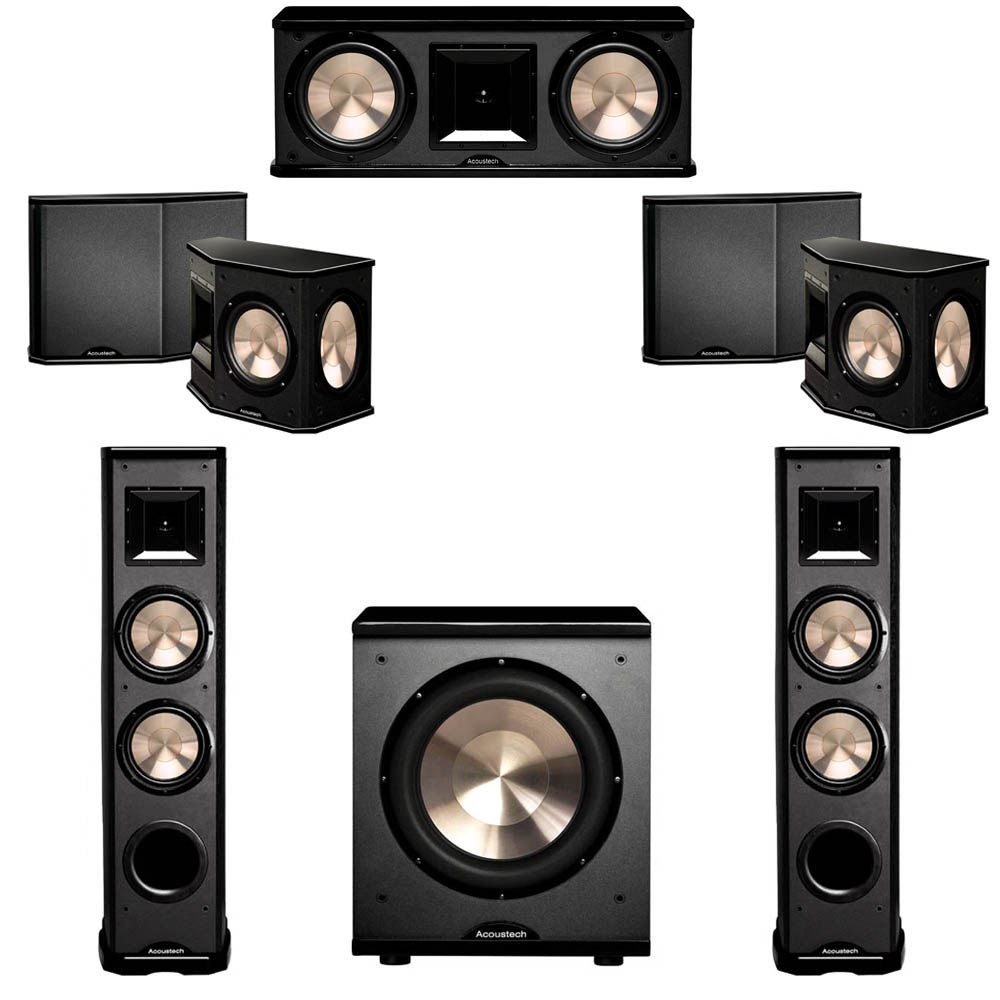 BIC Acoustech 5.1 System with 2 PL-89 II Floorstanding Speakers, 1 PL-28 II Center Speaker, 2 PL-66 Surround Speakers, 1 PL-200 Subwoofer