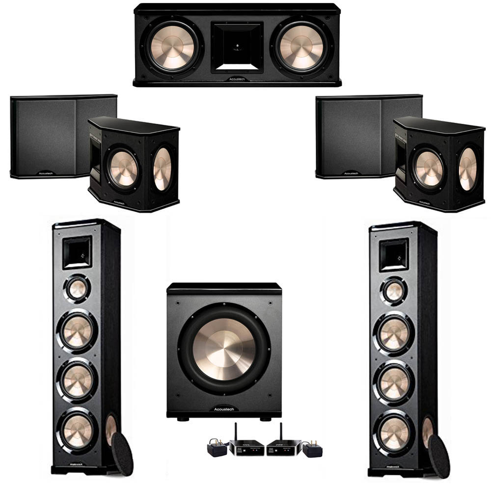 BIC Acoustech 5.1 System with 2 PL-980 Floorstanding Speakers, 1 PL-28 II Center Speaker, 2 PL-66 Surround Speakers, 1 PL-200 Wireless Subwoofer