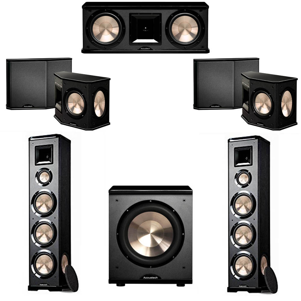 BIC Acoustech 5.1 System with 2 PL-980 Floorstanding Speakers, 1 PL-28 II Center Speaker, 2 PL-66 Surround Speakers, 1 PL-200 Subwoofer